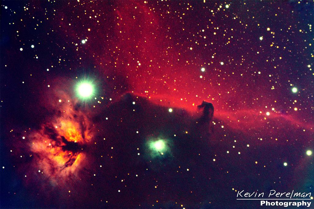 This nebula resides in the constellation Orion the hunter. You can see the gasses which create the illusion of a horses head